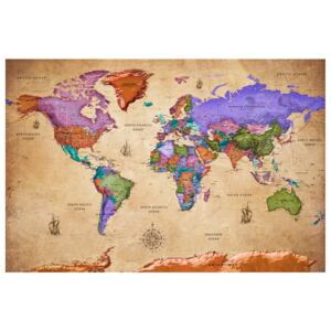 Corkboard Map Decorative Pinboards: Colourful Travels (1 Part) Wide [Cork Map]