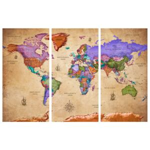 Corkboard Map Decorative Pinboards: Colourful Travels (3 Parts) [Cork Map]