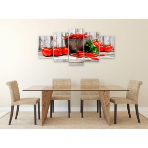 Canvas Print Kitchen: Red Vegetables (5 Parts) Wood Wide
