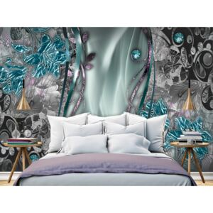 Wall mural Modern: Floral Curtain (Turquoise)