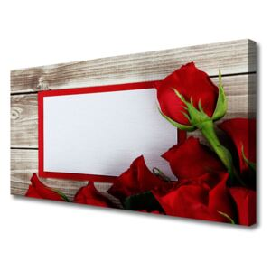 Canvas Wall art Roses floral red 100x50 cm