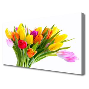 Canvas Wall art Tulips floral yellow red pink orange 100x50 cm