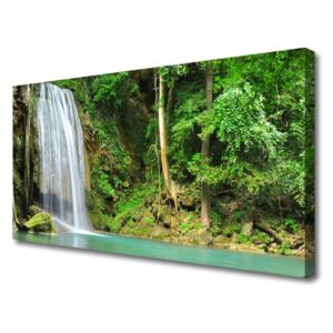Canvas Wall art Waterfall forest nature white blue brown green 100x50 cm