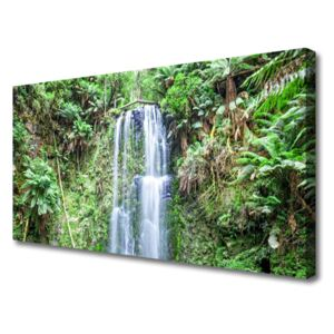 Canvas Wall art Waterfall trees nature white brown green 100x50 cm