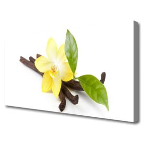 Canvas Wall art Vanilla leaves floral brown yellow green 100x50 cm