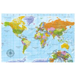 Corkboard Map Decorative Pinboards: Map with Dots (Blue) [Cork Map]