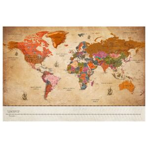 Corkboard Map Decorative Pinboards: Map with Timelime (Vintage) [Cork Map]