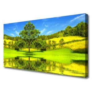 Canvas Wall art Meadow tree nature green brown 100x50 cm