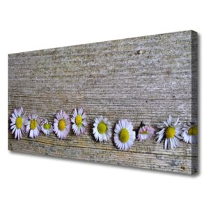 Canvas Wall art Daisy floral yellow white pink 100x50 cm