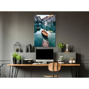Canvas Print Mountains: Boats In Dolomites (1 Part) Vertical