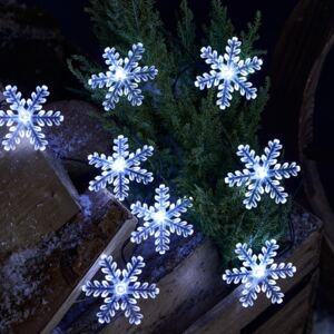 20 White Snowflake Battery Outdoor Fairy Lights