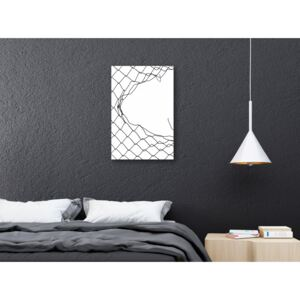 Canvas Print Black and White: Torn Net (1 Part) Vertical
