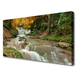 Canvas Wall art Waterfall forest nature brown green 100x50 cm