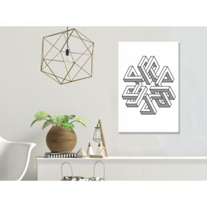 Canvas Print Black and White: Geometric Clover (1 Part) Vertical