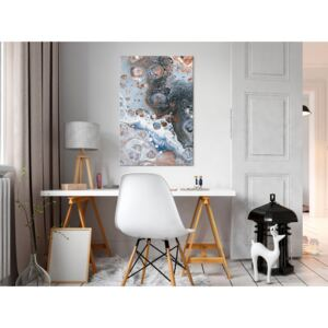 Canvas Print Abstract: Blue Sienna Marble (1 Part) Vertical