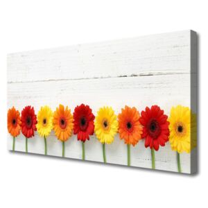 Canvas Wall art Flowers floral orange red yellow 125x50 cm
