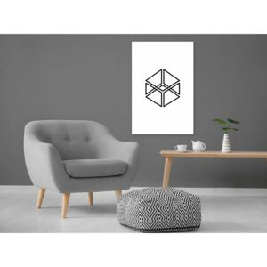 Canvas Print Black and White: Cube (1 Part) Vertical