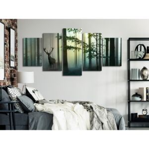 Canvas Print Forest: Morning (5 Parts) Wide Green