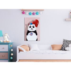 Canvas Print For Children: Panda with a Balloon (1 Part) Vertical