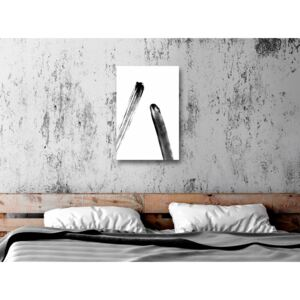 Canvas Print Black and White: Unexpected Meeting (1 Part) Vertical