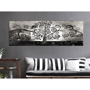 Canvas Print Black and White: Winding Paths of Nature (1 Part) Narrow