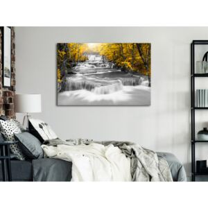 Canvas Print Landscapes: Cascade of Thoughts (1 Part) Wide Yellow