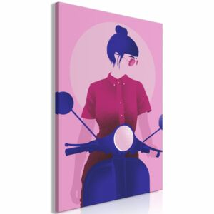 Canvas Print Women: Girl on Scooter (1 Part) Vertical