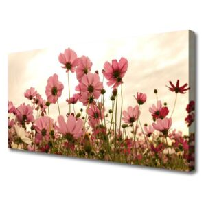 Canvas Wall art Flowers floral pink green 100x50 cm