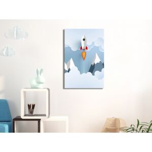 Canvas Print For Children: Rocket in the Clouds (1 Part) Vertical