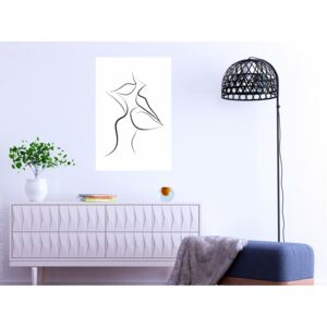 Canvas Print Black and White: First Kiss (1 Part) Vertical