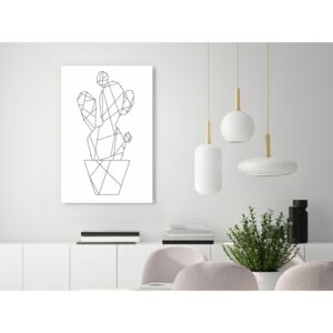 Canvas Print Black and White: Sketch of Cactus (1 Part) Vertical