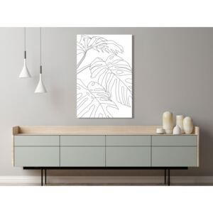 Canvas Print Black and White: Monstera Composition (1 Part) Vertical