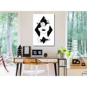 Canvas Print Black and White: Cosmos in the Head (1 Part) Vertical