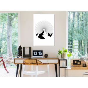 Canvas Print Black and White: Mountain at the Zenith (1 Part) Vertical