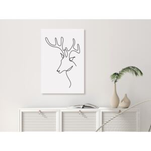Canvas Print Black and White: Reverie deer (1 Part) Vertical