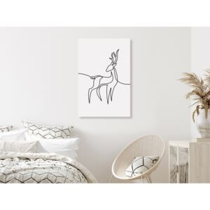 Canvas Print Black and White: Curious fawn (1 Part) Vertical
