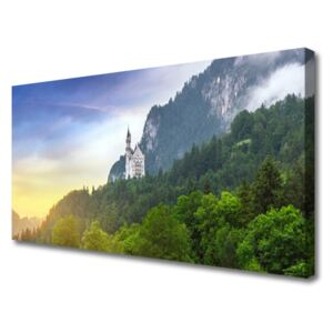 Canvas Wall art Forest mountains landscape green grey 100x50 cm