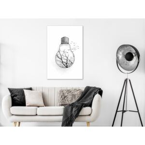 Canvas Print Black and White: Winter Birds (1 Part) Vertical