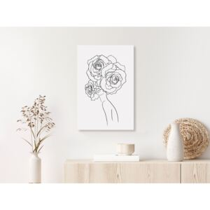 Canvas Print Black and White: Fancy Roses (1 Part) Vertical
