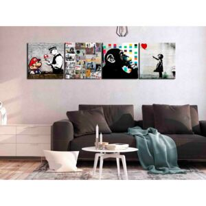 Canvas Print For Teenagers: Banksy Collage (4 Parts)