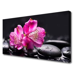 Canvas Wall art Flower stones floral red black 100x50 cm