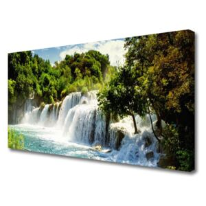 Canvas Wall art Waterfall trees nature brown green white blue 100x50 cm