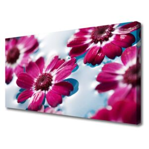 Canvas Wall art Flowers floral red blue 100x50 cm