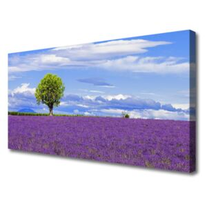 Canvas Wall art Meadow tree nature brown green pink 100x50 cm