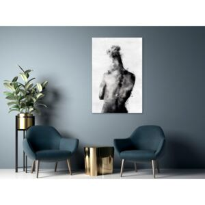 Canvas Print Black and White: Thoughtful (1 Part) Vertical