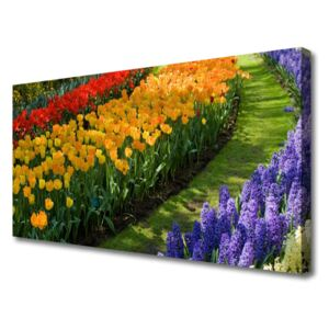 Canvas Wall art Flowers floral green red yellow purple 100x50 cm