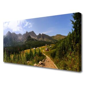 Canvas Wall art Mountain forest nature grey green 100x50 cm