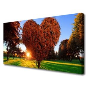 Canvas Wall art Sun trees nature brown yellow 100x50 cm