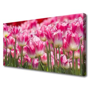 Canvas Wall art Tulips floral green white red 100x50 cm
