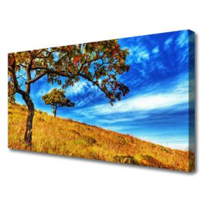 Canvas Wall art Meadow trees nature yellow brown 140x70 cm